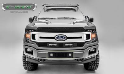 "T-REX GRILLES - 2018-2020 F-150 Limited, Lariat Stealth Torch Bumper Grille, Black, 1 Pc, Replacement, Black Studs with (2) 3"" LED Cube Lights - PN #6325791-BR - Image 4"