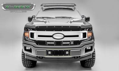 T-REX GRILLES - 2018-2020 F-150 Limited, Lariat Torch Bumper Grille, Black, 1 Pc, Replacement, Chrome Studs with (2) 3 Inch LED Cube Lights - PN #6325791 - Image 6