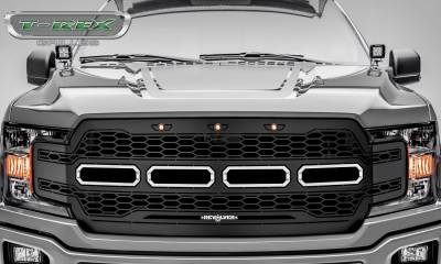 T-REX GRILLES - 2018-2020 F-150 Revolver Grille, Black, 1 Pc, Replacement, Chrome Studs - PN #6515851 - Image 2