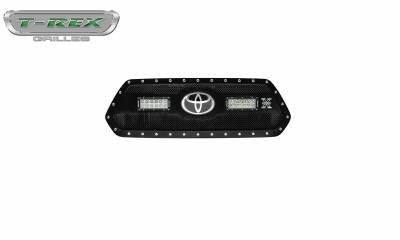 "T-REX GRILLES - 2018-2021 Tacoma Torch Grille, Black, 1 Pc, Insert, Chrome Studs with (2) 6"" LEDs, Does Not Fit Vehicles with Camera - PN #6319511 - Image 4"