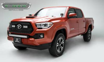 """T-REX GRILLES - 2018-2021 Tacoma Stealth Torch Grille, Black, 1 Pc, Insert, Black Studs with (2) 6"""" LEDs, Does Not Fit Vehicles with Camera - PN #6319511-BR - Image 2"""
