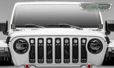 "T-REX GRILLES - Jeep Gladiator, JL Torch Grille, Black, 1 Pc, Insert, Chrome Studs, Incl. (7) 2"" LED Round Lights, without Forward Facing Camera - PN #6314931 - Image 5"