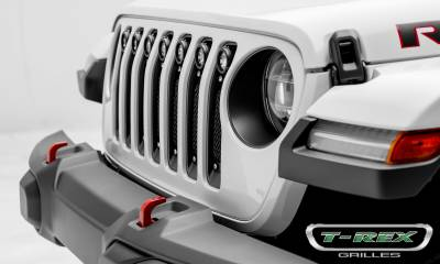 T-REX GRILLES - Jeep Gladiator, JL Torch Grille, Black, 1 Pc, Insert, Chrome Studs with (7) 2 Inch LED Round Lights, Does Not Fit Vehicles with Camera - PN #6314931 - Image 2