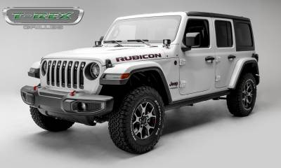 "T-REX GRILLES - Jeep Gladiator, JL Torch Grille, Black, 1 Pc, Insert, Chrome Studs, Incl. (7) 2"" LED Round Lights, without Forward Facing Camera - PN #6314931 - Image 3"