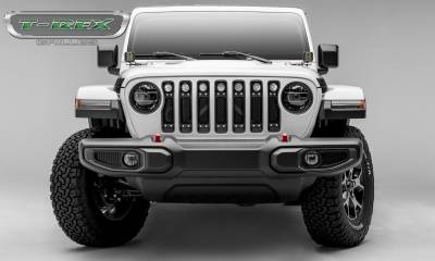 "T-REX GRILLES - Jeep Gladiator, JL Torch Grille, Black, 1 Pc, Insert, Chrome Studs, Incl. (7) 2"" LED Round Lights, without Forward Facing Camera - PN #6314931 - Image 4"