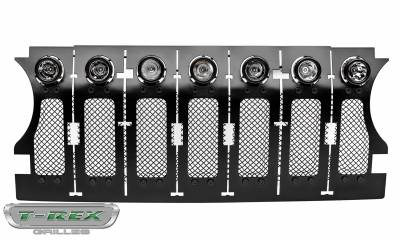 T-REX GRILLES - Jeep Gladiator, JL Stealth Torch Grille, Black, 1 Pc, Insert, Black Studs with (7) 2 Inch LED Round Lights, Does Not Fit Vehicles with Camera - PN #6314931-BR - Image 7