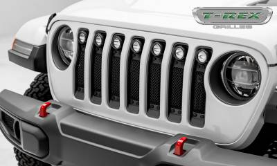 T-REX GRILLES - Jeep Gladiator, JL Stealth Torch Grille, Black, 1 Pc, Insert, Black Studs with (7) 2 Inch LED Round Lights, Does Not Fit Vehicles with Camera - PN #6314931-BR - Image 1