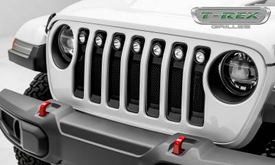 "2018-2019 Jeep JL, JLU Torch Grille, Black, 1 Pc, Insert, Incl. (7) 2"" LED Round Lights - PN #6314941 - Image 1"