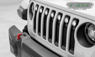 "2018-2019 Jeep JL, JLU Torch Grille, Black, 1 Pc, Insert, Incl. (7) 2"" LED Round Lights - PN #6314941 - Image 7"