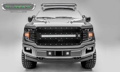 "T-REX GRILLES - 2018-2019 F-150 Laser Torch Grille, Black, 1 Pc, Replacement, Chrome Studs, Incl. (1) 30"" LED, Fits Vehicles with Camera - PN #7315751 - Image 1"