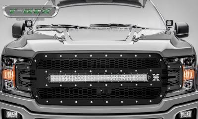 "T-REX GRILLES - 2018-2019 F-150 Laser Torch Grille, Black, 1 Pc, Replacement, Chrome Studs, Incl. (1) 30"" LED, Fits Vehicles with Camera - PN #7315751 - Image 2"
