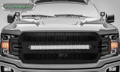"T-REX GRILLES - 2018-2020 F-150 Stealth Laser Torch Grille, Black, 1 Pc, Replacement, Black Studs, Incl. (1) 30"" LED, Fits Vehicles with Camera - PN #7315751-BR - Image 2"