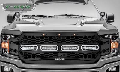 "T-REX GRILLES - 2018-2020 F-150 Revolver Grille, Black, 1 Pc, Replacement, Chrome Studs with (4) 6"" LEDs, Fits Vehicles with Camera - PN #6515791 - Image 2"