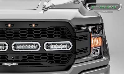 "T-REX GRILLES - 2018-2020 F-150 Revolver Grille, Black, 1 Pc, Replacement, Chrome Studs with (4) 6"" LEDs, Fits Vehicles with Camera - PN #6515791 - Image 3"