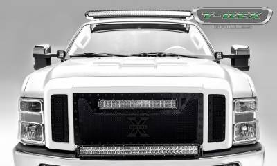 "T-REX GRILLES - 2008-2010 Super Duty Stealth Torch Grille, Black, 3 Pc, Replacement, Black Studs, Incl. (1) 20"" LED - PN #6315451-BR - Image 1"
