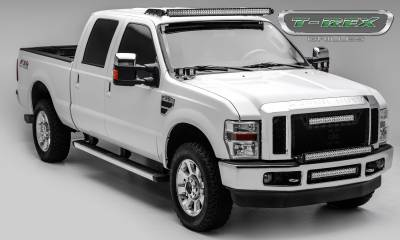 "T-REX GRILLES - 2008-2010 Super Duty Stealth Torch Grille, Black, 3 Pc, Replacement, Black Studs, Incl. (1) 20"" LED - PN #6315451-BR - Image 3"