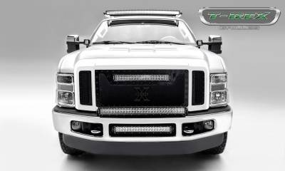 "T-REX GRILLES - 2008-2010 Super Duty Stealth Torch Grille, Black, 3 Pc, Replacement, Black Studs, Incl. (1) 20"" LED - PN #6315451-BR - Image 4"