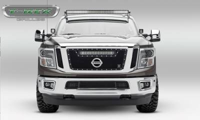 """T-REX GRILLES - 2016-2019 Titan Torch Grille, Black, 3 Pc, Insert, Chrome Studs with (1) 20"""" LED, Fits Vehicles with Camera - PN #6317851 - Image 2"""
