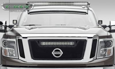 "T-REX GRILLES - 2016-2019 Titan Stealth Torch Grille, Black, 3 Pc, Insert, Black Studs, Incl. (1) 20"" LED - PN #6317851-BR - Image 1"
