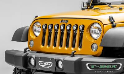 "2007-2018 Jeep JK, JKU Laser Torch Grille, Black, 1 Pc, Insert, Chrome Studs, Incl. (7) 2"" LED Round Lights - PN #7314841 - Image 6"