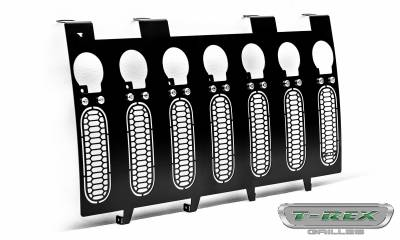 "2007-2018 Jeep JK, JKU Laser Torch Grille, Black, 1 Pc, Insert, Chrome Studs, Incl. (7) 2"" LED Round Lights - PN #7314841 - Image 8"