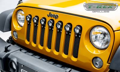 "T-REX GRILLES - 2007-2018 Jeep JK, JKU Torch Grille, Black, 1 Pc, Insert, Chrome Studs, Incl. (7) 2"" LED Round Lights - PN #6314841 - Image 1"