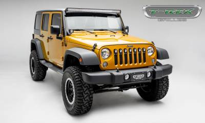 "T-REX GRILLES - 2007-2018 Jeep JK, JKU Torch Grille, Black, 1 Pc, Insert, Chrome Studs, Incl. (7) 2"" LED Round Lights - PN #6314841 - Image 5"