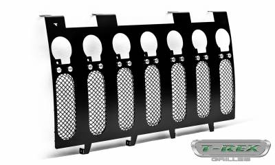 "T-REX GRILLES - 2007-2018 Jeep JK, JKU Torch Grille, Black, 1 Pc, Insert, Chrome Studs, Incl. (7) 2"" LED Round Lights - PN #6314841 - Image 7"