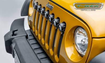 "T-REX GRILLES - 2007-2018 Jeep JK, JKU Torch Grille, Black, 1 Pc, Insert, Chrome Studs, Incl. (7) 2"" LED Round Lights - PN #6314841 - Image 8"