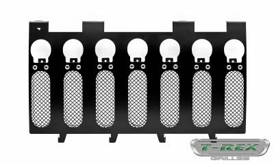 "T-REX GRILLES - 2007-2018 Jeep JK, JKU Torch Grille, Black, 1 Pc, Insert, Chrome Studs, Incl. (7) 2"" LED Round Lights - PN #6314841 - Image 2"