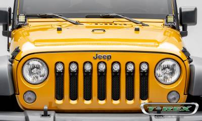 "T-REX GRILLES - 2007-2018 Jeep JK, JKU Stealth Torch Grille, Black, 1 Pc, Insert, Black Studs, Incl. (7) 2"" LED Round Lights - PN #6314841-BR - Image 3"