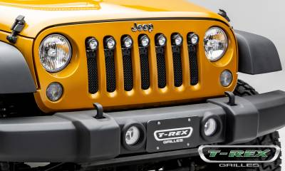 "T-REX GRILLES - 2007-2018 Jeep JK, JKU Stealth Torch Grille, Black, 1 Pc, Insert, Black Studs, Incl. (7) 2"" LED Round Lights - PN #6314841-BR - Image 6"