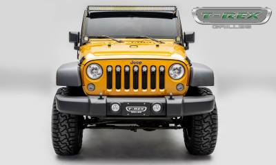 "T-REX GRILLES - 2007-2018 Jeep JK, JKU Stealth Torch Grille, Black, 1 Pc, Insert, Black Studs, Incl. (7) 2"" LED Round Lights - PN #6314841-BR - Image 4"