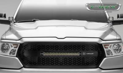 "T-REX GRILLES - 2019-2021 Ram 1500 Laramie, Lone Star, Big Horn, Tradesman ZROADZ Grille, Black, 1 Pc, Replacement with (1) 20"" LED - PN #Z314651 - Image 2"