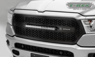 "T-REX GRILLES - 2019 Ram 1500 Laramie, Lone Star, Big Horn, Tradesman ZROADZ Grille, Black, 1 Pc, Replacement, Incl. (1) 20"" LED - PN #Z314651 - Image 1"