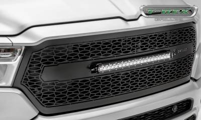 "T-REX GRILLES - 2019-2021 Ram 1500 Laramie, Lone Star, Big Horn, Tradesman ZROADZ Grille, Black, 1 Pc, Replacement with (1) 20"" LED - PN #Z314651 - Image 6"