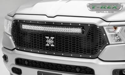 "T-REX GRILLES - 2019 Ram 1500 Laramie, Lone Star, Big Horn, Tradesman Laser Torch Grille, Black, 1 Pc, Replacement, Chrome Studs, Incl. (1) 30"" LED - PN #7314651 - Image 1"