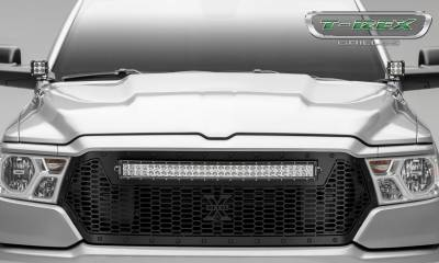T-REX GRILLES - 2019-2021 Ram 1500 Laramie, Lone Star, Big Horn, Tradesman Stealth Laser Torch Grille, Black, 1 Pc, Replacement, Black Studs with 30 Inch LED, Does Not Fit Vehicles with Camera - PN #7314651-BR - Image 2