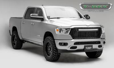 T-REX GRILLES - 2019-2021 Ram 1500 Laramie, Lone Star, Big Horn, Tradesman Stealth Laser Torch Grille, Black, 1 Pc, Replacement, Black Studs with 30 Inch LED, Does Not Fit Vehicles with Camera - PN #7314651-BR - Image 5