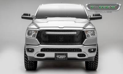 T-REX GRILLES - 2019-2021 Ram 1500 Laramie, Lone Star, Big Horn, Tradesman Stealth Laser Torch Grille, Black, 1 Pc, Replacement, Black Studs with 30 Inch LED, Does Not Fit Vehicles with Camera - PN #7314651-BR - Image 4