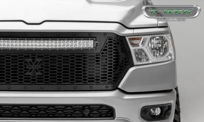 T-REX GRILLES - 2019-2021 Ram 1500 Laramie, Lone Star, Big Horn, Tradesman Stealth Laser Torch Grille, Black, 1 Pc, Replacement, Black Studs with 30 Inch LED, Does Not Fit Vehicles with Camera - PN #7314651-BR - Image 3