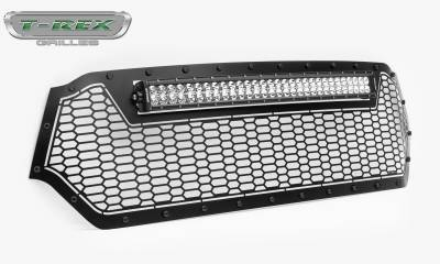 T-REX GRILLES - 2019-2021 Ram 1500 Laramie, Lone Star, Big Horn, Tradesman Stealth Laser Torch Grille, Black, 1 Pc, Replacement, Black Studs with 30 Inch LED, Does Not Fit Vehicles with Camera - PN #7314651-BR - Image 6