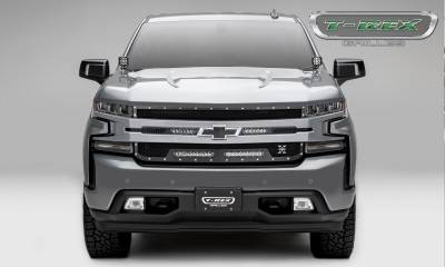 T-REX GRILLES - 2019-2021 Silverado 1500 Torch Grille, Black, 1 Pc, Replacement, Chrome Studs with (2) 6 Inch and (2) 10 Inch LEDs, Does Not Fit Vehicles with Camera - PN #6311261 - Image 3