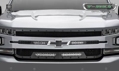 "T-REX GRILLES - 2019-2020 Silverado 1500 Stealth Torch Grille, Black, 1 Pc, Replacement, Black Studs, Incl. (2) 6"" and (2) 10"" LEDs - PN #6311261-BR - Image 2"