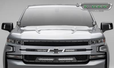 "T-REX GRILLES - 2019-2021 Silverado 1500 Stealth Torch Grille, Black, 1 Pc, Replacement, Black Studs with (2) 6"" and (2) 10"" LEDs - PN #6311261-BR - Image 4"