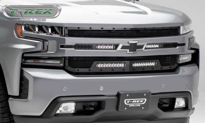 "T-REX GRILLES - 2019-2021 Silverado 1500 Stealth Torch Grille, Black, 1 Pc, Replacement, Black Studs with (2) 6"" and (2) 10"" LEDs - PN #6311261-BR - Image 6"