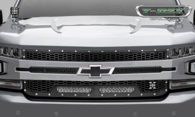 T-REX GRILLES - 2019-2021 Silverado 1500 Laser Torch Grille, Black, 1 Pc, Replacement, Chrome Studs with (2) 10 Inch LEDs, Does Not Fit Vehicles with Camera - PN #7311261 - Image 2