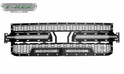 "T-REX GRILLES - 2019-2021 Silverado 1500 Laser Torch Grille, Black, 1 Pc, Replacement, Chrome Studs, Incl. (2) 10"" LEDs - PN #7311261 - Image 3"
