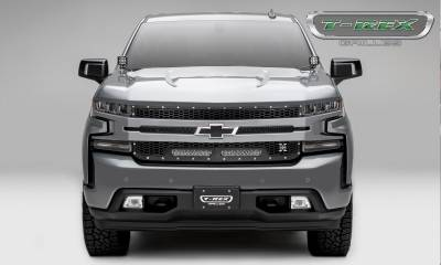 T-REX GRILLES - 2019-2021 Silverado 1500 Laser Torch Grille, Black, 1 Pc, Replacement, Chrome Studs with (2) 10 Inch LEDs, Does Not Fit Vehicles with Camera - PN #7311261 - Image 4