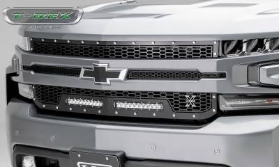T-REX GRILLES - 2019-2021 Silverado 1500 Laser Torch Grille, Black, 1 Pc, Replacement, Chrome Studs with (2) 10 Inch LEDs, Does Not Fit Vehicles with Camera - PN #7311261 - Image 5